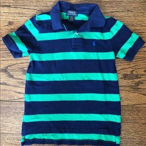 Two Ralph Lauren Boys Striped Polo Shirts.